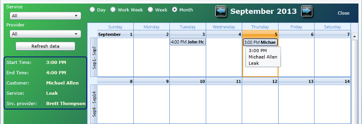 Appointment Scheduling Answering Service Calendar View